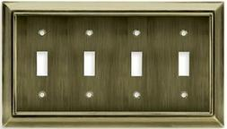 Quad Switch Metal Wall Plate - Bronze Antique # 64153 Braine