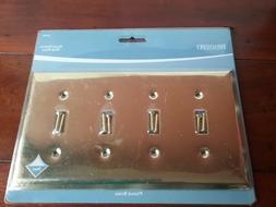 Quad Switch Metal Wall Plate - Plated Brass # 64389 Brainerd