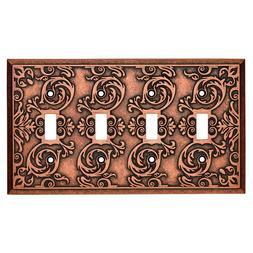 Quad Toggle Wall Plate Fairhope Copper Brainerd W27115-CPS