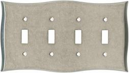 Quad Toggle Wall Plate Vintage Nickel Brainerd 144042