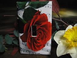 Red Rose & Music Notes Beautiful Light Switch Wall Plate Cov