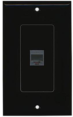 RiteAV Rj11/12 Phone Black Wall Plate 1 Gang Decorative Blac