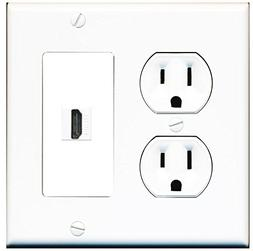 RiteAV  15 Amp Round Power Outlet HDMI TV Wall Plate - White