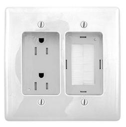Bryant Electric RR1512W 2-Gang Recessed TV Connection Outlet
