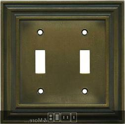 Brainerd Rustic Edges Tumbled Antique Brass  Switch Plates,