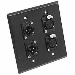 Seismic Audio SA-PLATE25 Black Stainless Steel Wall Plate wi