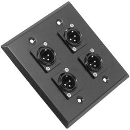 Seismic Audio SA-PLATE4 Black Stainless Steel Wall Plate wit