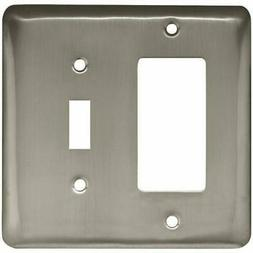 = Style Selections Satin Nickel Stamped Round Single Toggle