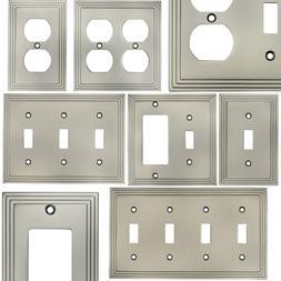 Satin Nickel Switch Wall Plate Duplex GFCI Rocker Decora Swi