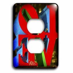 3dRose  Sculpture Love Philadelphia 2 Plug Outlet Cover Deco