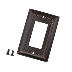 AmazonBasics Single Gang Wall Plate, Oil Rubbed Bronze,, 3-P