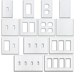 Smooth Gloss White Metal Wall Plate Covers Switch Plates & O