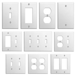 smooth white steel wall plate toggle switch