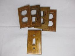 Amertac Solid Oak Wall Plate and Outlet Covers 1 Switch 4 Ou