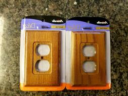 SOLID OAK WOOD AmerTrac AMERELLE DUPLEX WALL OUTLET COVER PL