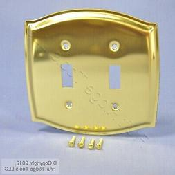 Solid Polished Brass 2-Gang Toggle Switch Cover Decoratortiv