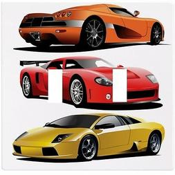 Sports Cars Red Yellow Orange Wall  Plate Decorative Light S