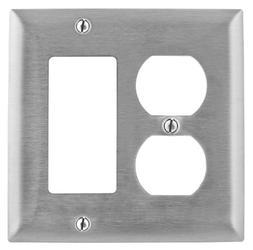 Bryant Electric SS826 Metallic Wallplate, 2-Gang, 1 Duplex 1