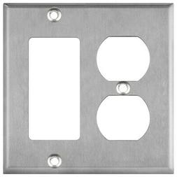 ENERLITES Combination Duplex Decorator Wall Plate 2 Gang Sta