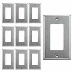 10PK Decorator GFCI Stainless Steel Wall Plate 1 Gang Switch