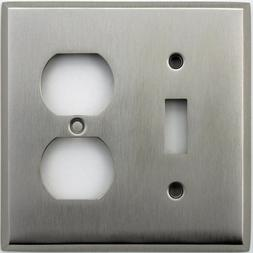 Classic Accents Stamped Steel Satin Nickel Two Gang Wall Pla