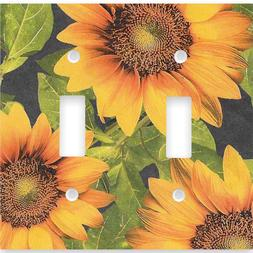 Sunflower Double Toggle Light Switch Cover Wall Plate Countr