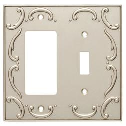 Switch Decorator Wall Plate French Lace Nickel Brainerd W106
