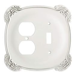 Switch Duplex  Wall Plate White Arboresque Franklin Brass 14