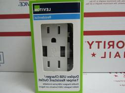2-Pack Leviton T5632-W 15-Amp USB Charger/Tamper Resistant D