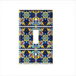 Talavera Tile Light Switch Plate Wall Cover Mexico Blue Yell