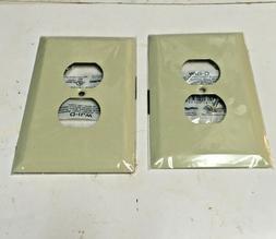 Taymax,Single Duplex Wall Plate, Jumbo,Ivory pk of 2