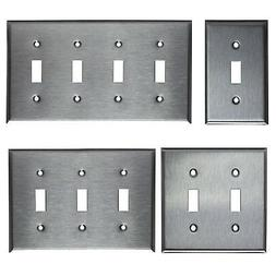 TOGGLE SWITCH STAINLESS STEEL WALL COVER PLATE 1 2 3 4 GANG