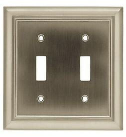 Toggle Wall Plate, 2-Gang, Architectural, Satin Nickel Zinc