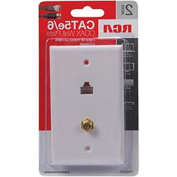 RCA TPH557R CAT-5/6 F & Coaxial Connector Wall Plate