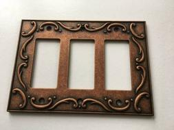 Triple Decorator Wall Plate French Lace  Copper Franklin Bra
