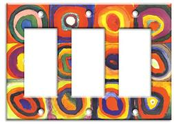 Art Plates / Triple Gang Rocker Switch Plate / Kandinsky: Fa