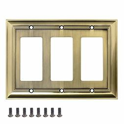AmazonBasics Triple Gang Wall Plate, Antique Brass, 1-Pack