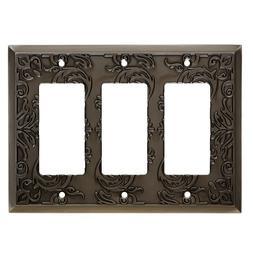 Triple Gang Wall Plate Fairhope Heirloom Silver GFCI Decorat