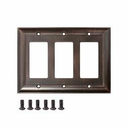 AmazonBasics Triple Gang Wall Plate, Oil Rubbed Bronze, 1-Pa