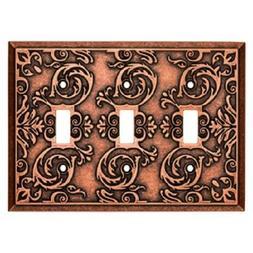 Triple Switch Plate Copper Fairhope Brainerd W27114-CPS