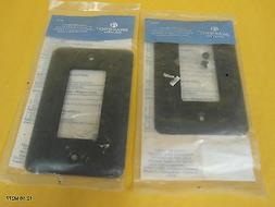 Two  Round Brainerd Black Metal Wall Plate Rectangle Light S
