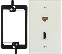 TWO BUYER'S POINT HDMI & CAT6 ETHERNET RJ45 WALL PLATE SINGL