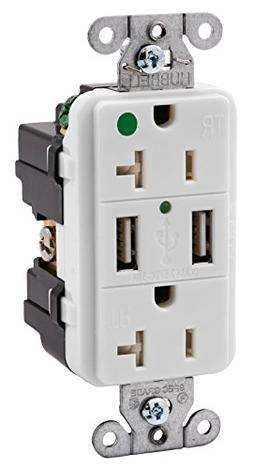 Bryant Electric USBB8300W 3.8 Amp Hospital Grade USB Charger
