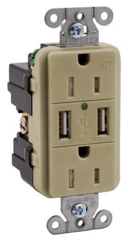 Bryant Electric USBP15I USB Charger, Receptacle, Outlet, Dup