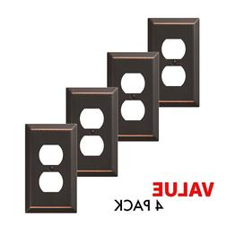 Value 4-Pack Duplex Outlet Wall Plate Decorative Steel, Oil