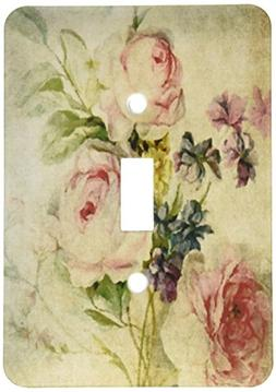 3dRose Vintage Florals Grunge by Angelandspot, Single Toggle
