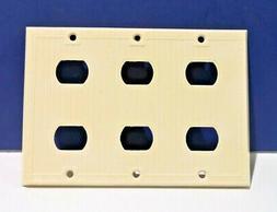 VINTAGE Bryant Electric Ivory 3-Gang 6-Hole DESPARD Wall Pla