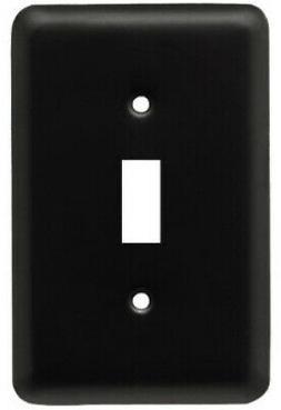 Brainerd W10245-FB-U Round Toggle Wall Plate, Matte Black, 1