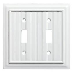 W17997-PW  Pure White Beadboard Double Switch Wall Cover Pla