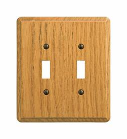 Amerelle Wall Plate Light Oak Contemporary 2 Toggle Carded